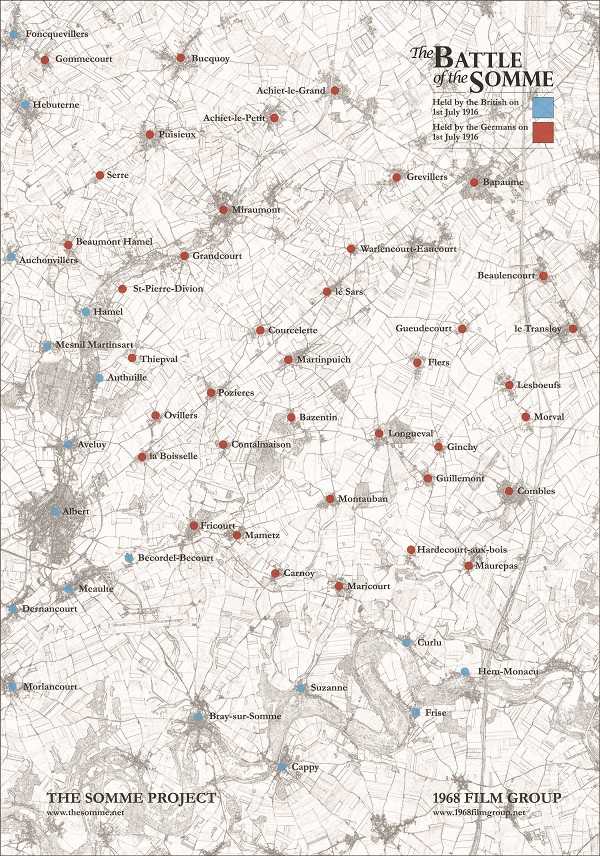 A low resolution image of a map of The Somme